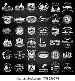 Summer camp,fishing, alpine and hiking club. Vector illustration. Set of vintage badges, labels, logos, silhouettes. Vintage typography collection with 36 items. Outdoors emblems on the chalkboard