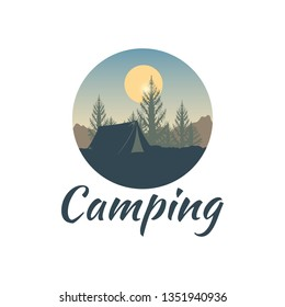 Summer camping concept. Outdoor recreation template. Logo adventure landscape and wanderlust. Nature, tent and sunrise. Inspirational lettering.