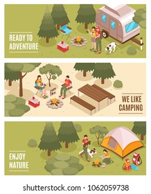 Summer camping hiking expedition 3 isometric horizontal banners with family tent backpacks open fire isolated vector illustration