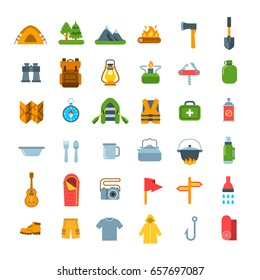 Summer camping icons. Vector flat graphics. Outdoor recreational activity. Hiking tourism tools, clothes and objects. Wild nature travel. Forest camp equipment. Mountain exploring expedition