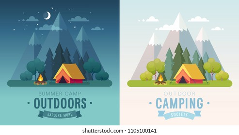 Summer Camping morning and night graphic posters. Banners with mountains, trees, tent and campfire. Climbing, hiking, trakking sports Vector illustration.