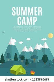 Summer Camping Nature Background in Modern Flat Style with Sample Text. EPS10