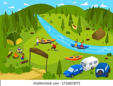 Summer camping outdoor in nature, people on vacation, vector illustration. Campground near forest, river kayaking. Summer youth camp with tents, active leisure in nature. Teenagers cartoon characters