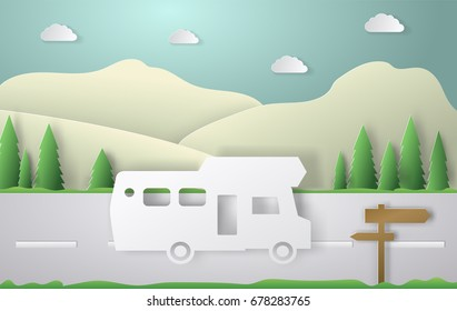Summer camping paper cut style. Concept with car, road, track. Vector illustration background