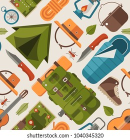 Summer camping pattern with forest adventure elements and icons. Trekking and hiking seamless background with camp tent, kayak boat, mountains and other tourist trip or expedition equipment in flat.