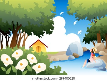 Summer Camping and Relaxing Vacation - lovely young girl dipping feet in the cold water and enjoy fun in the wooded valley on background of bright blue sky and beautiful park : vector illustration