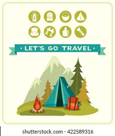 Summer camping. Set of travel equipment and blue tent with campfire, mountains. Cartoon vector illustration.