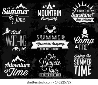 Summer Camping Vector Calligraphy Design Elements in Retro style