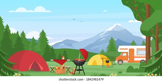 Summer camping vector illustration. Outdoor nature adventure, active tourism in summertime background. Cartoon flat tourist camp with picnic spot and tent among forest, mountain landscape on sunny day