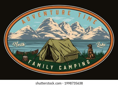 Summer camping vintage colorful badge with dog sitting near tent and looking at lake canoe and mountains isolated vector illustration