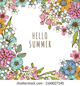 Summer card. Flowers, leaves. Hand drawn isolated frame. Space for text