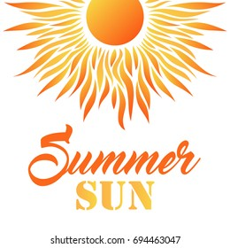 Summer Card with Sun and Text. Vector Illustration. Flat Style. Decorative Summer Design.