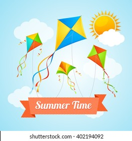 Summer Card witha Flying Kites. Vector illustration