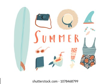 Summer card with women beach holiday objects. Surfing card and poster