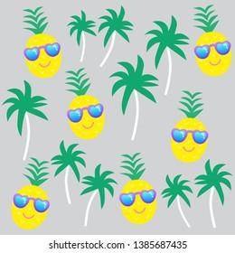 Summer cartoon pineapple vector illustration