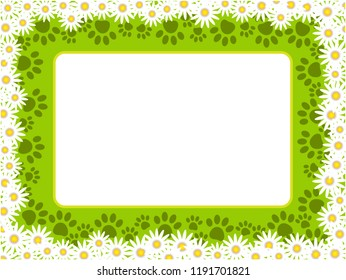 Summer chamomile frame with cat paw prints and empty space for your text.