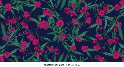 Summer cheerful floral seamless pattern wallpaper- adelfa hot pink and green flowers over dark blue background - Vector