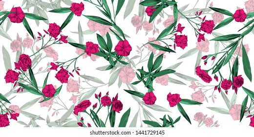 Summer cheerful floral seamless pattern wallpaper- adelfa hot pink and green flowers over light white background - Vector