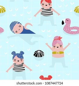 Summer Childish Seamless Pattern with Cute Girls in Swimming Pool. Creative Kids Background for Fabric, Textile, Wallpaper, Wrapping Paper. Vector illustration