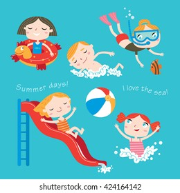 Summer child's outdoor activities. Beach holiday. Happy childhood. Vector set on a blue background. Happy boys and girls on the sea.