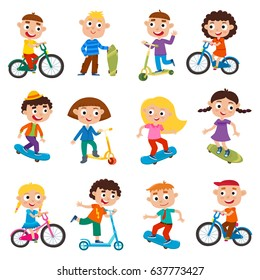Summer child s outdoor activities. Happy childhood. Vector set children in cartoon  style isolated on 167ad445a1bf