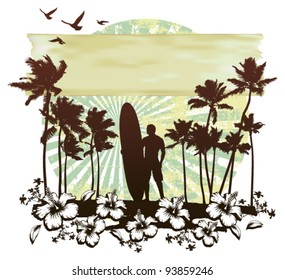 summer circle scene with hibiscus surfer and palms