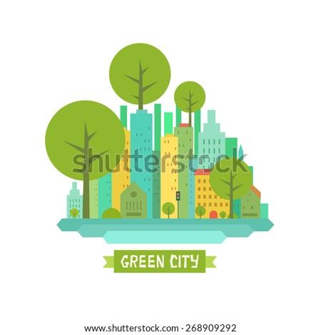 771ac03e45 Summer City Landscape Buildings Offices Blocks Stock Vector (Royalty ...
