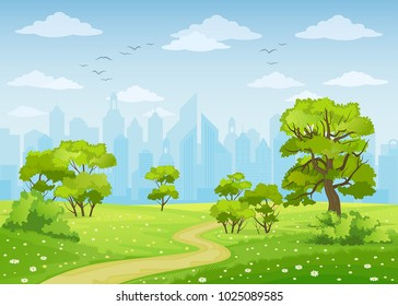 Summer city park landscape vector illustration.