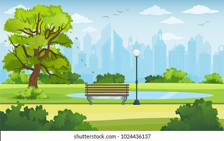 Summer city park panorama vector illustration.