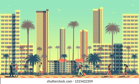 Summer cityscape with people in the foreground, Park and modern skyscrapers in the background. Travel poster. Handmade drawing vector illustration.