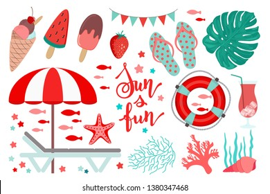 Summer clip art kit. Coral red and teal green color. Beach objects. Sea vacation icons. Beach chair and sunshade parasol umbrella. Flip flops, life buoy. Shells, corals, seaweed. Sun and fun words.