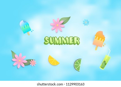 Summer clip art set. Handwritten lettering with  ice-cream, beverage, flowers and other summer items isolated on sky background.  Vector illustration.