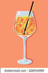 summer cocktail aperetif aperol spritz vector illustration