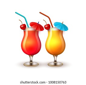 Summer cocktail glasses vacation, beach party realistic 3d objects isolated. Travelling tourism holiday time illustration sunny drink on white background, paradise resort seaside concept