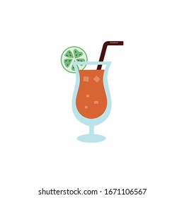 Summer cocktail or ice beverage in glass sign or icon, flat cartoon vector illustration isolated on white background. Cold chilling drink for bar menu and textile print.