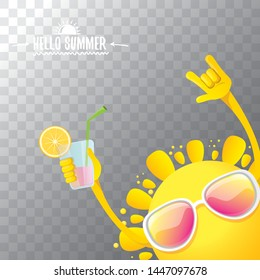 summer cocktail party poster background with funky smiling sun character wearing sunglasses and holding cocktail glass with lemon and drinking straw. hello summer rock n roll vector label or logo.