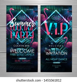 Summer cocktail party typography poster with flamingo and fluorescent tropic leaves. Invitation design. Nature concept
