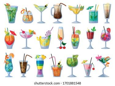 Summer cocktail vector illustration on white background. Vector cartoon set icon fresh drink . Isolated cartoon set icon summer cocktail.