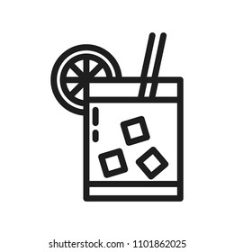 Summer cold drink thin line icon. Vector illustration with a glass of drink with ice cubes and lemon or orange slice and a straw.