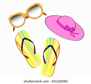 summer collection of hats slippers and sunglasses