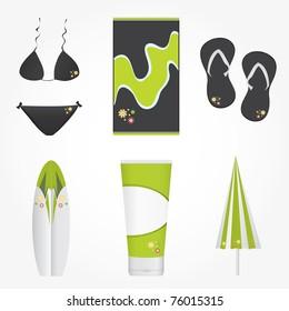 Summer collection icon set vector