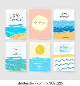 Summer collection. Sea background. Invitation. Card with ink grunge texture. Retro patterns for Posters, Flyers and Banner Designs