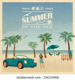 Summer color background in retro style with car, palm trees and young woman on the beach.