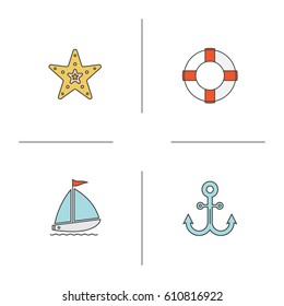 Summer color icons set. Sea star, lifebuoy, sailing boat, anchor. Isolated vector illustrations