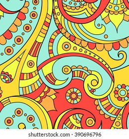 Summer colored ethnic Indian doodle seamless vector pattern, beautiful paisley ornament