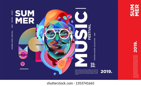 Summer Colorful Art and Music Festival Banner and Cover Template for Event, Magazine, and Web Banner.
