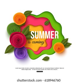 Summer colorful background with typographic design and floral elements. Vector paper cut style