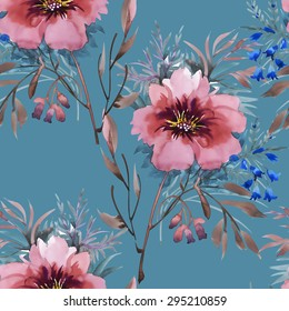 Summer Colorful floral garden watercolor Seamless pattern on blue background vector illustration