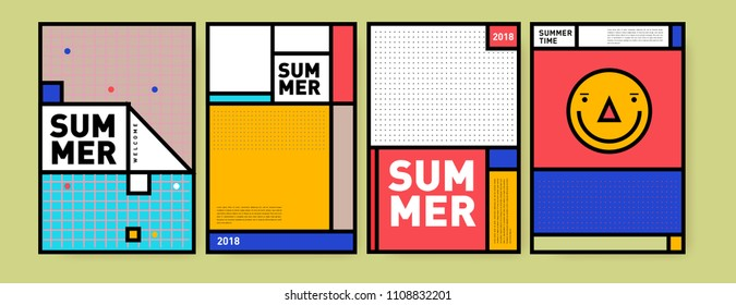 Summer colorful poster design template. Set of summer sale background and illustration. Minimalist design style for summer event poster and banner in eps10.\n