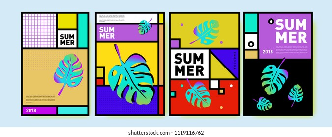 Summer colorful poster design template. Set of summer sale background and illustration. Minimalist design style for summer event poster and banner in eps10.